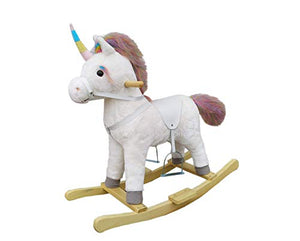 The Rocking Horse Co. | White Rocking Unicorn | Rainbow Horn, Mane & Tail | Gift