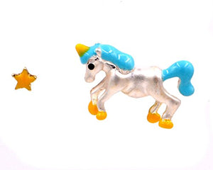 Magical Unicorn and Tiny Yellow Star Asymmetric Mismatched Earrings - Matte Silver (in Organza Bag).