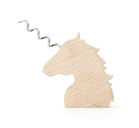 Kikkerland Beech Wood Stainless Steel Unicorn Wooden Corkscrew