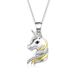 Unicorn Silver & Gold Pendant Necklace | Jewellery Gifts for Women Girls