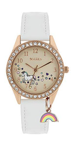 TIKKERS Unicorn Rainbow Charm Watch - Rose Gold, White