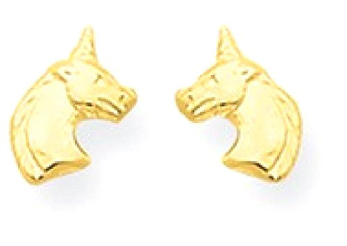 ICE CARATS 14k Yellow Gold Unicorn Post Stud Earrings Animal Fine Jewelry Gift Set For Women Heart