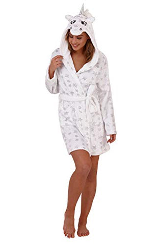 Soft, Fluffy, Star Unicorn Fleece Dressing Gown | White
