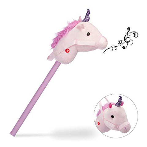 Unicorn Hobby Horse | Sound Effects | 74 cm | Pink | Relaxdays