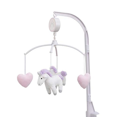 Unicorn Snuggles Pink, White, Lavender Musical Mobile with Unicorns & Hearts, Pink, White, Lavender