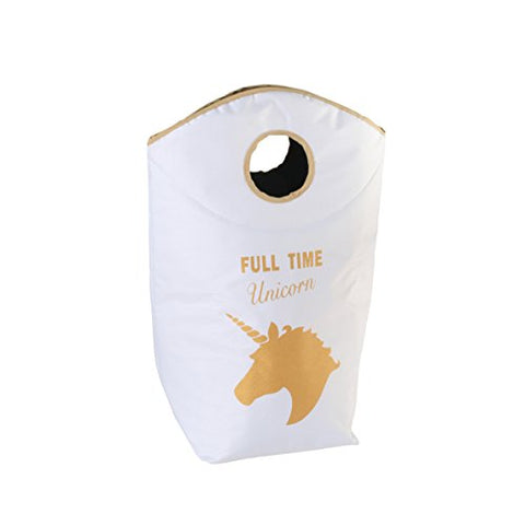 Unicorn White + Golden Unicorn Print Wash Bag. 60 Litres – Laundry Basket – Height Approx. 70 cm Textile – Also Suitable for storing Toys