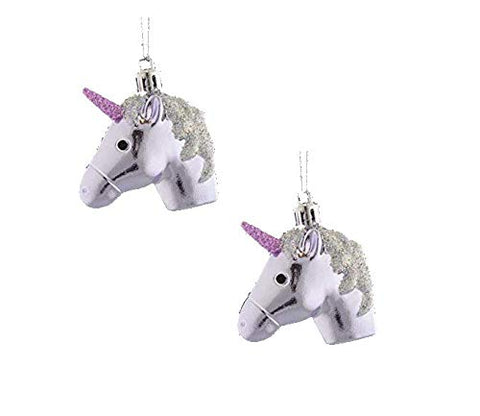 Unicorn Head Christmas Tree Baubles - Silver Lilac