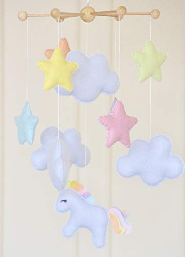 Unicorn felt hanging mobile pastel colours