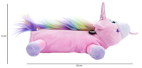 FRINGOO® Plush Unicorn Pencil Case For Girls Soft Large Capacity School Stationery Pouch (Pink)