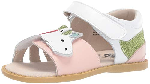 Livie & Luca Girls' Toddler Unicorn Flat Sandal, Rainbow, Pale Pink