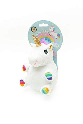 Unicorn Ball Dog Toy | Squeaky Rubberised Textured Ball | White Plush & Rainbow Hooves | Pet London