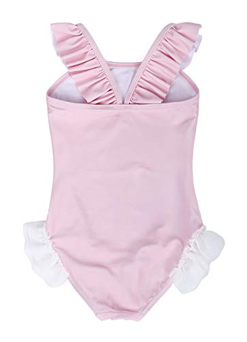 Girls Unicorn Swimming Suit One Piece Swimwear Ruffle Sleeve- pastel pink