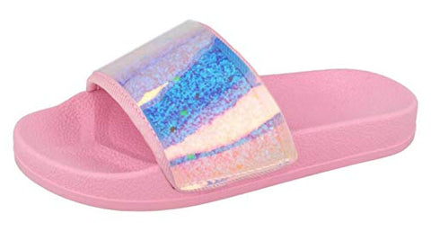 Unicorn Girls Iridescent Sliders Pink Pool Shoes