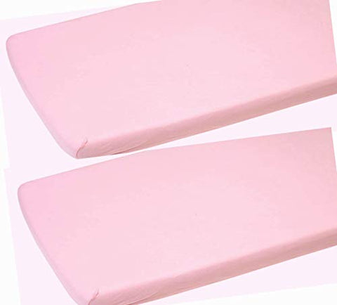 2 x Junior Bed | Toddler Bed Fitted Sheets | 100% Cotton Fitted Sheets | 160 x 70 cm. (Pink)