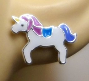 Purple Unicorn Earrings - Sterling Silver