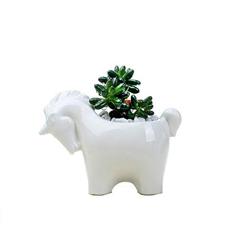 Ceramic unicorn plant pot