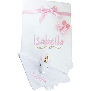 Personalised White Unicorn Baby Shawl Blanket, Comforter and Booties Gift Set