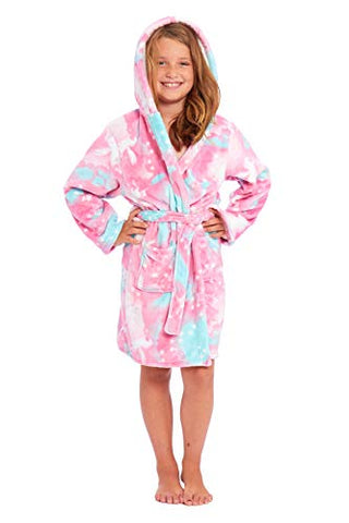Girls Hooded Dressing Gown | Unicorn Design | Pink, Blue