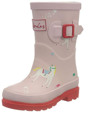 Joules Girl's Welly Print Boot | Pink Unicorn | Kids