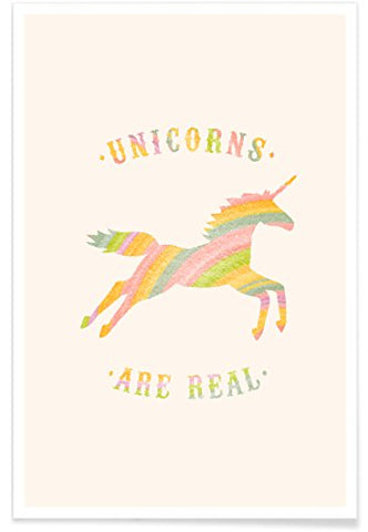"JUNIQE® Posters 20x30cm Funny Unicorns - Design ""Unicorns Are Real II"" (Format: Portrait) - Pictures, Art prints & Prints by independent artists - Unicorn art - Designed by Florent Bodart"