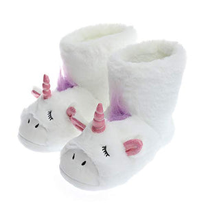 Unicorn Slippers | Fluffy Plush Shoes Woman Slippers | White Boot