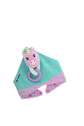 Unicorn | 3 in 1 Bandanna Dribble Bib - Sensory Toy, Teething Ring, Dummy Holder