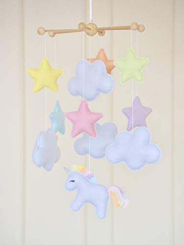 Pastel rainbow unicorn cloud baby nursery mobile kids room decoration baby shower gift