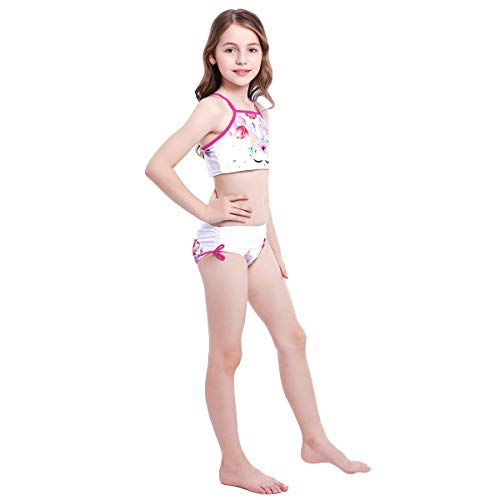Girls Floral Unicorn 2- Piece Tankini Bikini Set Swimsuit IMEKIS