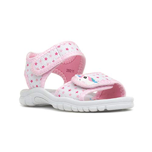 Walkright Girls White Unicorn Easy Fasten Sandal - Multicolour, Pink