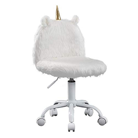 Wahson Children's Study Desk Chair | Unicorn Style | Faux Fur Soft Fluffy Swivel Chair Adjustable Height Computer Chair for Kids (White)