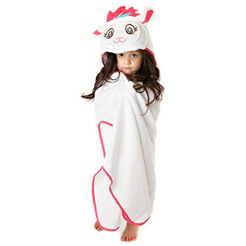 Little Tinkers World Premium Hooded Towel for Kids | Llama Design | Ultra Soft and Extra Large | 100% Cotton Bath Towel with Hood for Girls