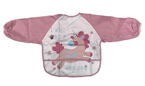 Pink Long Sleeved Waterproof Unicorn Bib | Girls