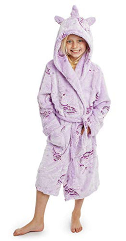 Kids Unicorn Dressing Gown | Hooded Super Soft Bathrobe for Boys, Girls | Purple Unicorn
