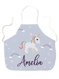 Unicorn Rainbow Design Children's Apron | Personalised Name Of Choice | Ideal Gift