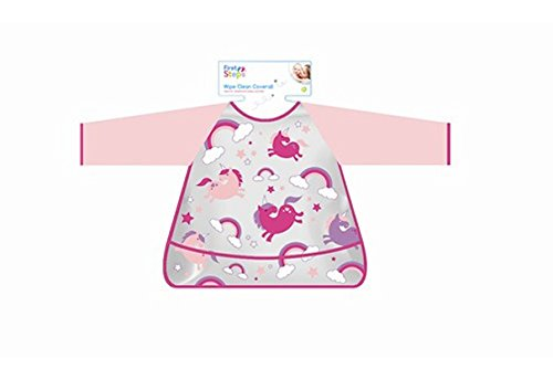 Wipe Clean Coverall Kids Baby Bib Overall Waterproof Easy Clean Stops Mess Pink