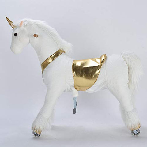White & Gold Unicorn Sit & Ride On Toy