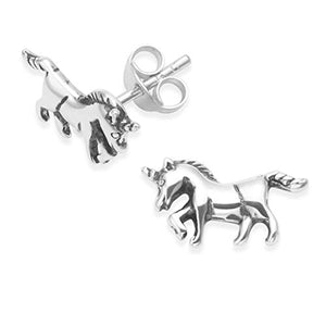 Sterling Silver Unicorn Stud Earrings With Gift Box | Present Idea