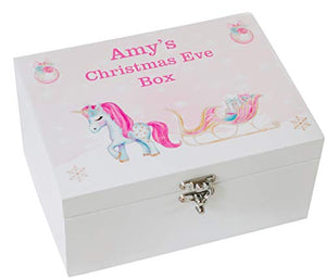 Personalised Printed Wooden Christmas Eve Treat Box | Unicorn Design