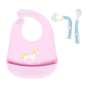 Pink Unicorn Silicone Bib for Babies & Toddlers | Waterproof with Training Spoon