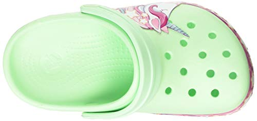 Crocs Unisex Kid's Children's FunLab Unicorn Band Clog, Mint Green, Purple