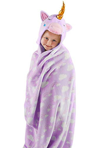 Snuggle Up Girls Hooded Unicorn Supersoft Fleece Blanket (Purple)