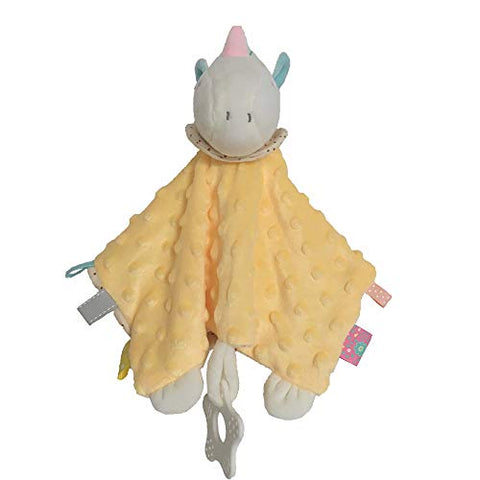Baby Unicorn Security Blanket Comforter | Taggy Blanket | Yellow