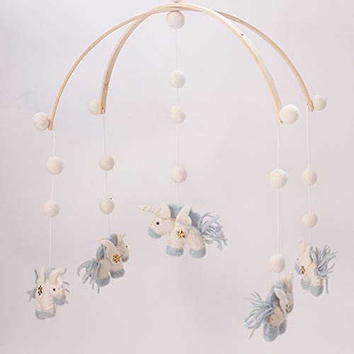 Wooden felt unicorn hanging mobile for nursery cot photo prop babies