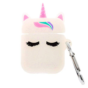 Claire's Glitter Unicorn Silicone Earbud Case Cover | Compatible With Apple Airpods