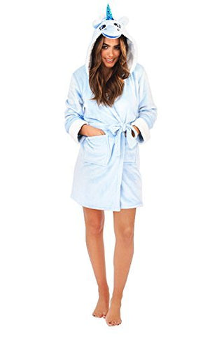 Loungeable Boutique Womens Unicorn Hooded Dressing Gown Blue - Medium - UK 12-14
