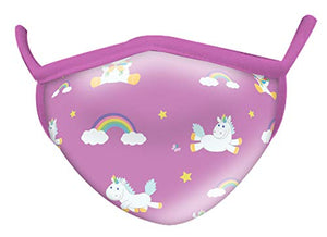Child Face Mask | Reusable, Washable | Unicorns & Rainbows Design | Pink