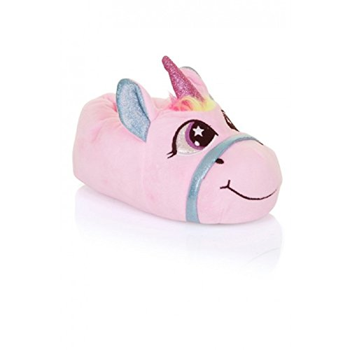 Girls Kids Slippers Size 10 11 12 13 1 2 Unicorn Fun Novelty Christmas Present Idea 3D (11/12, Pink/Pink)