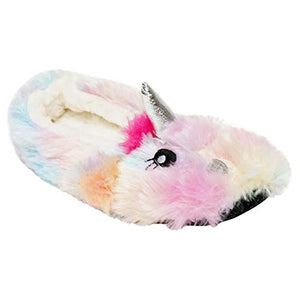 K Collection Ladies Novelty Soft 3D Rainbow Unicorn Plush Slippers