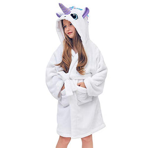 White Soft & Fluffy Unicorn Dressing Gown | Kids