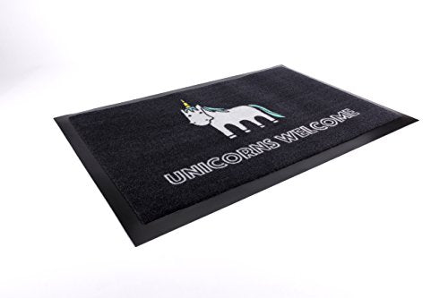 The black unicorn themed doormat of choice!